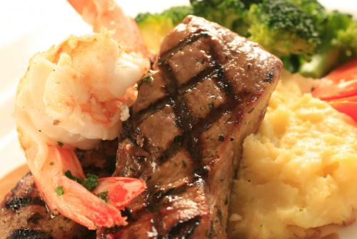 prawns and steak